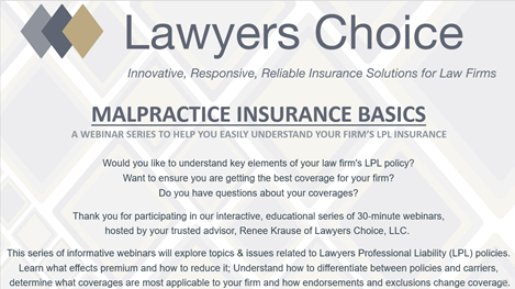 Malpractice Insurance Basics Webinar Episode#1: An Introduction to LPL Policy Terms